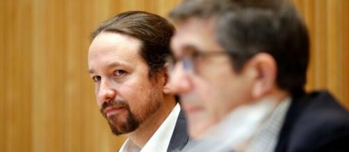 Pablo Iglesias y Patxi López, este jueves en el Congreso.