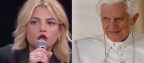 Emma Marrone stigmatizza il pensiero critico maturato da Papa Ratzinger sulla società moderna.