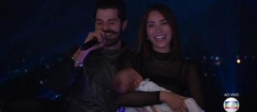 Live de Alok contou com a presença de sua esposa e seu filho. (Reprodução/Rede Globo)