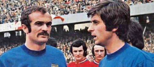 Sandro Mazzola e Gianni Rivera, protagonisti della celebre 'staffetta' ai Mondiali 1970..