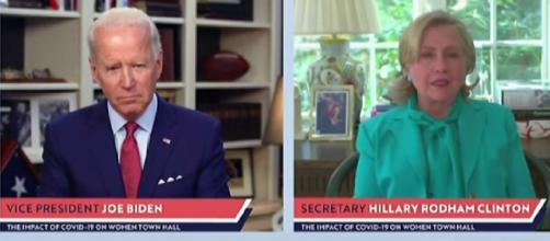Hillary Clinton endorses Joe Biden for president. [Image source/Los Angeles Times YouTube video]
