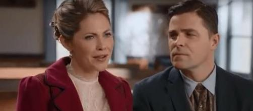 """Pascale Hutton, Kavan Smith of """"When Calls the Heart"""" look to fulfilling Rosemary and Lee's family dream. [Image source:HallmarkChannel-YouTube]"""