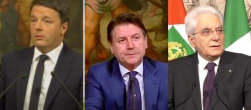 Matteo Renzi, Giuseppe Conte e Sergio Mattarella.