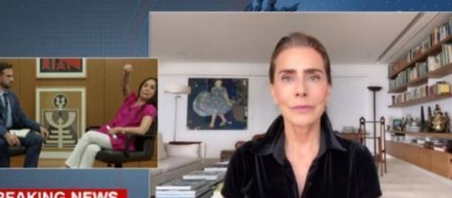 Regina Duarte ficou revoltada com um vídeo gravado pela atriz Maitê Proença, durante entrevista na CNN Brasil. (Reprodução/CNN Brasil)