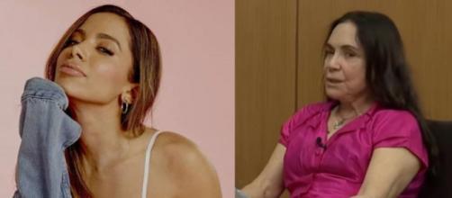'Só governa para quem pensa semelhante?', diz Anitta à Regina Duarte. (Reprodução/Fotomontagem)