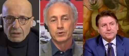 Alessandro Sallusti, Marco Travaglio e Giuseppe Conte.