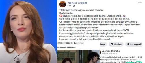 Jasmine Cristallo replica a Il Giornale.