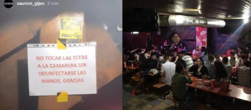 Un bar de Gijón se ha convertido en el centro de las críticas por el trato hacia sus camameras al colgar este cartel en su bar.