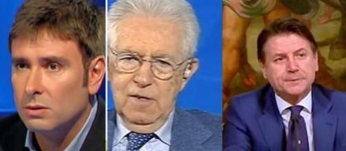 Alessandro Di Battista, Mario Monti e Giuseppe Conte.