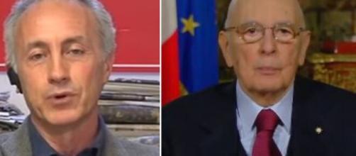 Marco Travaglio e Giorgio Napolitano, ex presidente della Repubblica.