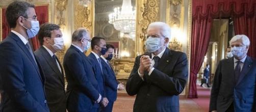 Sergio Mattarella riceve Conte e alcuni ministri al Quirinale.