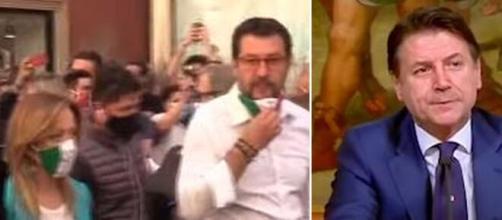 Un momento della manifestazione di Roma e Giuseppe Conte.