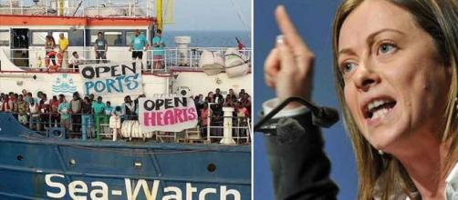 Giorgia Meloni invoca il blocco navale contro le Ong.