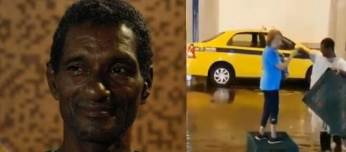 Capoeira ficou conhecido ao ajudar idosa em alagamento em Copacabana. (Fotomontagem)