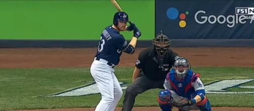 Pitcher Brandon Woodruff hitting. [image source: MLB- YouTube]