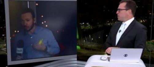 Repórter da Globo é surpreendido ao aparecer sem máscara. (Reprodução/TV Globo)