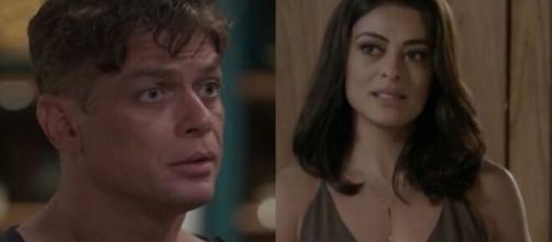 Arthur negará pedido de Carol, deixando a morena furiosa em 'Totalmente Demais'. (Foto: Montagem/Globo).