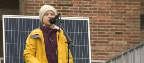 Greta Thunberg tells Bristol climate activists 'We are the change.' [Image source/The Telegraph YouTube video]
