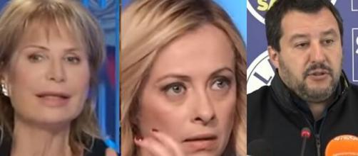 Lilli Gruber, Giorgia Meloni e Matteo Salvini.