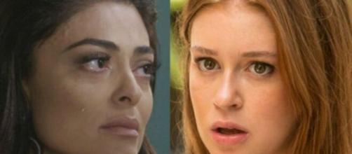 Carol descobrirá que Eliza é filha de Germano, em 'Totalmente Demais'. (Foto: Montagem/Globo).