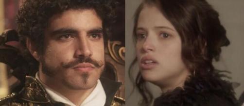 Domitila é escorraçada por Pedro, em 'Novo Mundo'. (Fotomontagem)