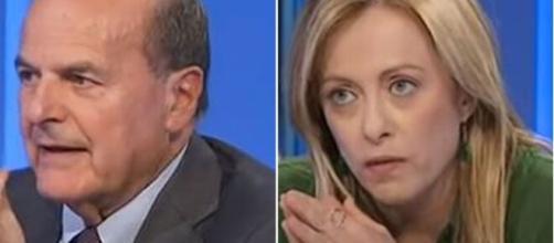 Pierluigi Bersani e Giorgia Meloni.