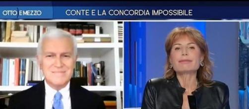 Botta e risposta tra Belpietro e Gruber su Giuseppe Conte.