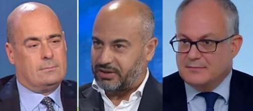 Nicola Zingaretti, Gianluigi Paragone e Roberto Gualtieri.