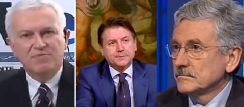 Maurizio Belpietro, Giuseppe Conte e Massimo D'Alema.
