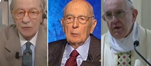 Vittorio Feltri, Giorgio Napolitano e Papa Francesco.