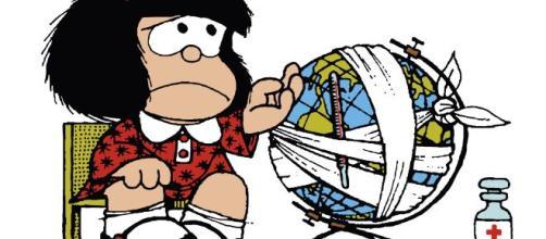Mafalda, el personaje argentino de historietas que siempre se preocupa por la humanidad y defiende la paz mundial.