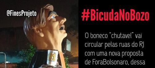 Boneco chutável de Bolsonaro é utilizado como forma de protesto. (Divulgação/Twitter)