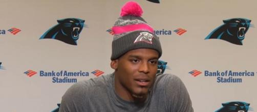 Newton signed a one-year, incentive-laden contract with the Patriots. [Image Source: Carolina Panthers/YouTube]