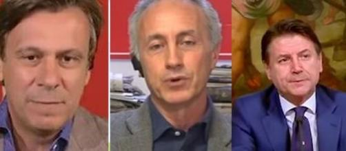 Nicola Porro, Marco Travaglio e Giuseppe Conte.