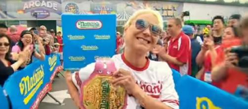 Miki Sudo sets women's record, wins seventh Nathan's Hotdog Eating Contest. [Image source/ESPN YouTube video]