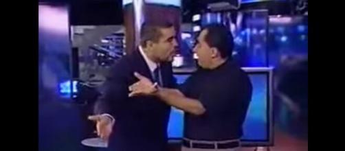 Treta entre Jorge Kajuru e o boxeador Marinho Soares. (Reprodução/YouTube)