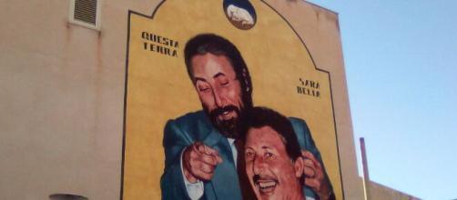 Inaugurazione del murale di Igor Scalisi Palminteri a Villabate.