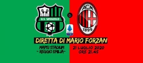 Serie A: Sassuolo - Milan al Mapei Stadium Atleti Azzurri d'Italia di Reggio Emilia