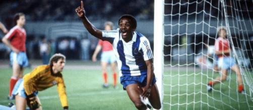 Juary, l'esultanza dopo il gol segnato al Bayern nella finale di Coppa dei Campioni 1986/87.