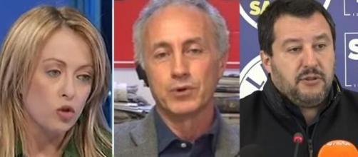 Giorgia Meloni, Marco Travaglio e Matteo Salvini.