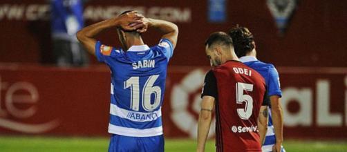 Sabin Merino se lamenta durante la derrota en el último partido del Deportivo, ante el Mirandés.