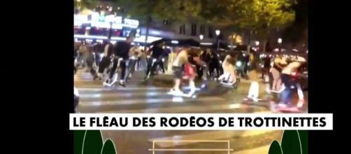 Les rodéos de trottinettes sur les Champs Elysées inquiètent les pouvoirs publics, capture CNEWS)