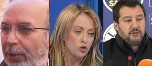 Vito Crimi, Giorgia Meloni e Matteo Salvini.