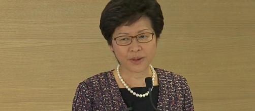 Hong Kong Chief Executive Carrie Lam has postponed the elections. (Image via ABCnews/Youtube) [Image source: Thomson Reuters/YouTube Video]