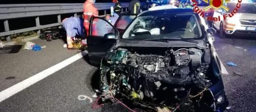 Tragico incidente tra auto e camion a Usmate Velate.