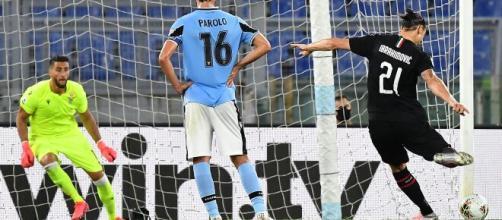 Lazio-Milan: il gol su rigore di Zlatan Ibrahimović.