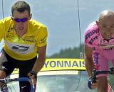 Lance Armstrong e Marco Pantani sul Mont Ventoux.
