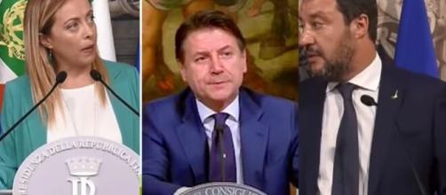 Giorgia Meloni, Giuseppe Conte e Matteo Salvini.