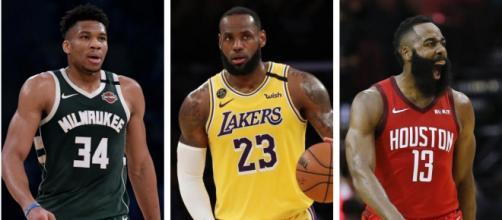 Antetokounmpo, LeBron e Harden são os jogadores que podem ser decisivos no segundo jogo de playoffs da NBA. (Fotomontagem)