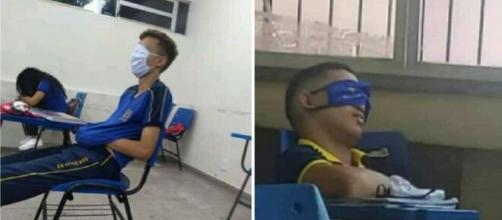 Imagens de alunos de Manaus usando máscaras nos olhos viralizaram nas redes sociais. (Reprodução/Redes Sociais)